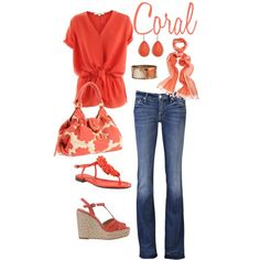 coral, created by kristen-344 on Polyvore