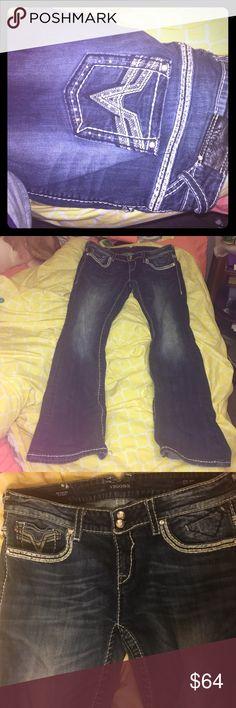 Vigoss denim jeans slim boot Denim 13/14 vigoss jeans. Great condition. Rhinestones on pockets Vigoss Jeans Boot Cut