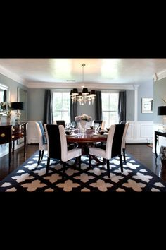 use in dining room and paint the rug with this stencil design..... Love it!  Black and white dining room.