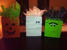 DIY Halloween Treat Bags!  Pumpkin, Mummy, Frankenstein, gift bag, goodie bag.  So incredibly easy, not even funny!