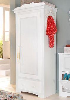Gefertigt aus FSC®-zertifizierter, massiver Kiefer, wahlweise rot, gelaugt/geölt oder weiß lackiert. Die aufwendigen Fräsungen im Holz machen was her! Die Griffe sind ebenfalls aus Holz. Der Dielenschrank ist perfekt für die Aufbewahrung Ihrer Garderobe geeignet. Hinter der Schranktür befindet sich eine Kleiderstange (Breite 67 cm). Unten schafft ein Schubkasten auf Metallauszug zusätzlichen St...