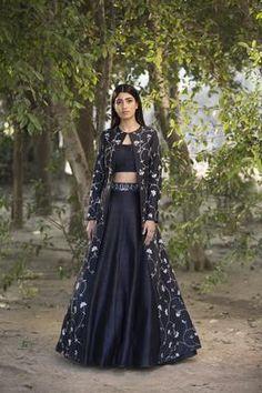 wellcart black designer lehnga choli with full sak(koti) Indian Gowns Dresses, Indian Fashion Dresses, Dress Indian Style, Indian Designer Outfits, Designer Dresses, Indian Wear, Fashion Outfits, Choli Designs, Lehenga Designs