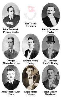 The Musicians who played to the end, on board the Titanic:  The band played the song, Nearer My God to Thee at 2:13 a.m. It was a prayer to everyone. It is thought by some that the band leader, Wallace Hartley, started playing by himself at first and then the rest of the band joined in.   The band knew 352 different songs by heart. They had to be ready for any requests the passengers might make on the trip.