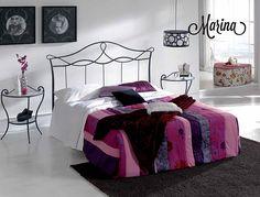 cabezal de hierro, cabezal moderno cama forjada, cama juvenil