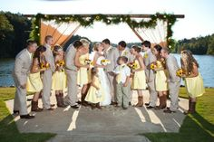 yellow dresses with cowboy boota | sunflower wedding with yellow dresses and khaki suits...very ... | Tw ...