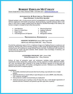 Auto mechanic, Resume objective examples and Resume objective on ...