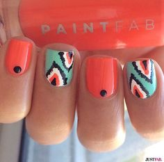 Coral & Mint printed nails, Fairy manicure, I like the nail with the design Get Nails, Fancy Nails, Love Nails, How To Do Nails, Pretty Nails, Uñas Fashion, Cute Nail Art, Nagel Gel, Fabulous Nails