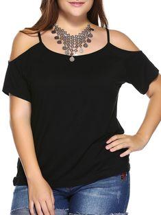 Plus Size Dew Shoulder T-Shirt - BLACK 2XL