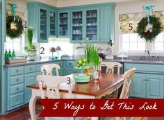 DIY Home Decor | Love the look of this aqua kitchen decorated for Christmas? Check out links to five tutorials to get the look for less!
