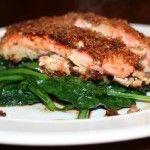 Panko Crusted Salmon over Greens