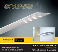 Lighting solutions for offices, medical and any industrial. #OfficeFurniture #OfficeLighting #Hyderabad SEATING WORLD: Office Furniture and lighting. E-mail: seatingwold@usa.net Sales Contact: office@seatingworldindia.com Ph: +91-40-66667642,66667695.