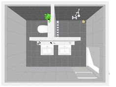 """removing 1 sink & shower wall, and adding tiny tub in shower stall can reduce overall size for a tiny """"full"""" 1/2 bath"""