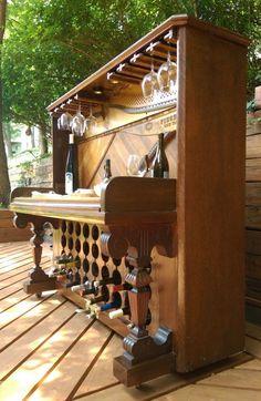 Items similar to Gorgeous Repurposed Handmade Vintage Piano Wine Bar on Etsy