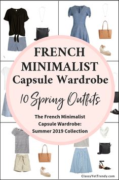 French Minimalist Summer 2019 Capsule Wardrobe Preview 10 Outfits - Classy Yet Trendy - See a preview of the French Minimalist Summer Capsule Collection! Find out where to get a few pieces in the capsule, plus 10 outfit ideas from the eBook, including pieces such as a tee, shirt, striped top, wide leg pants, tie front pants, skirt, shorts, sandals and espadrilles. Makeover your closet! #capsulewardrobe #capsule #closet #wardrobe #french #frenchstyle #outfitoftheday #outfitideas
