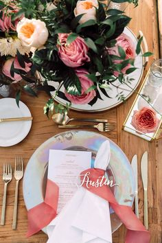 Contemporary Tented Wedding In Blush Palette Accented With Metallics ~ gorgeous place setting with laser cut place card