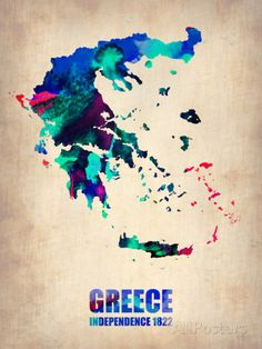 Greece Watercolor Poster Plastic Sign by NaxArt at AllPosters.com