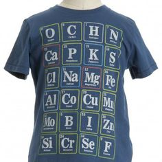 kid's tee made up of all the elements found in the body. Yay for kids who love science!