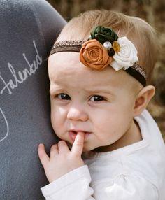 Pumpkin Spice Headband- Hunter Green, Cream, and Orange roses- Baby girl headband