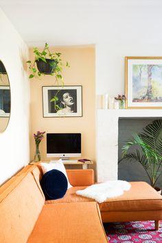 LaTonya Yvette Small Space Home Tour Peach Living Room Corner Desk
