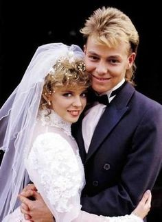 """Network Ten photo shows the famous 1987 wedding scene from the long running Australian soap opera """"Neighbours"""", with Kylie Minogue as Charlene and Jason Donovan as Scott. Marie Claire, Big Dresses, Wedding Dresses, Wedding Scene, Wedding Pics, Wedding Trends, Wedding Couples, Wedding Bells, Wedding Bride"""