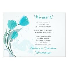"Teal Spring Watercolor Tulips Reception Only Card ""We Did It"" 