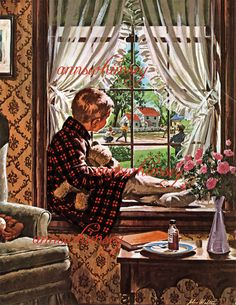 A Day Off School   Vintage Restored Art Print  by annswhimsey, $12.00