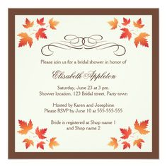 Shop Orange autumn leaves elegant fall bridal shower invitation created by TheStationeryShop. Personalize it with photos & text or purchase as is! Dinner Invitation Template, Dinner Invitations, Elegant Invitations, Zazzle Invitations, Invites, Invitation Ideas, Fall Wedding Invitations, Bridal Shower Invitations, Thanksgiving Invitation