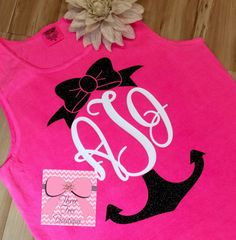 Monogram Anchor with Bow Tank Top Comfort by ThreeTeesBoutique