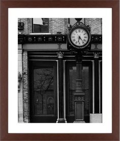 Clock Stand Framed Print, Brown, Contemporary, White, White, Single piece, 16 x 20 inches, White