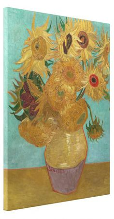 Vase with 12 Sunflowers by Vincent Van Gogh Gallery #Wrapped #Canvas #Print. #VanGogh #sunflowers #vase #art #painting