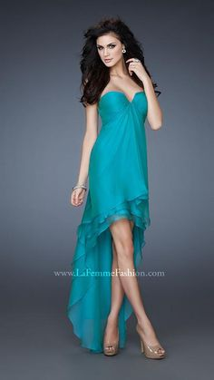 La Femme 18048 - teal bridesmaids dress
