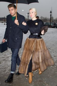 Ulyana Sergeenko Fur Coat - Ulyana was all about extravagance in this fur-skirt coat dress at the Christian Dior show in Paris. Fur Fashion, Couture Fashion, Love Fashion, Winter Fashion, Fashion Outfits, Womens Fashion, Fashion Design, Paris Fashion, Skirt Fashion