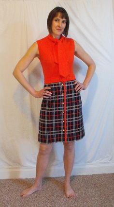 Vintage 1960s 70s tulip red skirt white flower handmade Rick rack gingham check dress applique mod