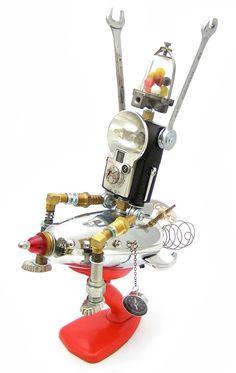 FOBOTS — Commander Zed Diy Robot, Robot Art, Robots, Tin Men, Assemblage Art, Steam Punk, Altered Art, Reuse, Art Dolls