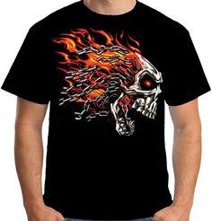 Velocitee Mens Burning Evil Flaming Skull T Shirt Chopper Biker  A17876 #Velocitee