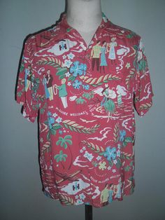 e30427a2d328 Sun Surf Red Hawaiian Rayon Shirt , Pattern design Tom Mc Guire Welcome you  , Toyo Made in Japan , Size M , Near a Mint Condition