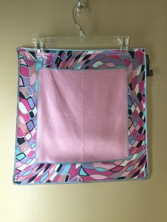 Emilio Pucci Firenze Italy Pink Abstract Square Rolled Edges Silk Scarf #EmilioPucci #Vintage #AnyOccasion