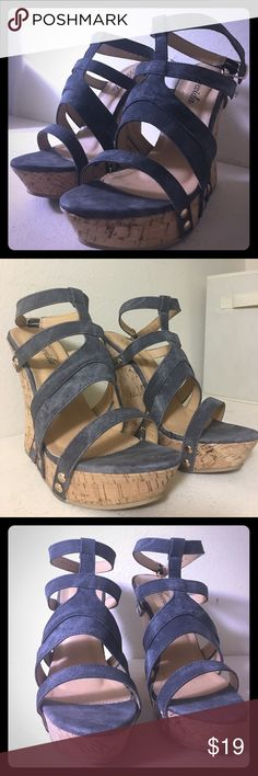 💖✨ Sexy wedge heels ✨💖 Blue jean color with cork style wedge. Fits size 81/2-9. Ready to be shipped! Shoes Wedges