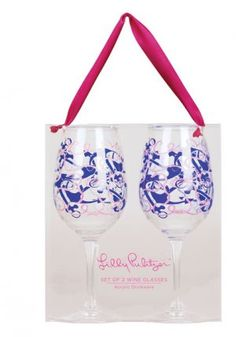 Lilly Pulitzer - Acrylic Wine Glass Set of 2 - Booze Cruise