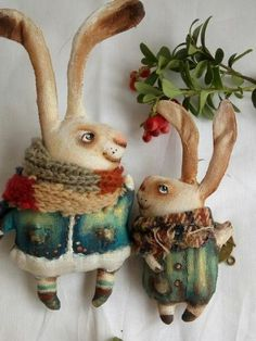 Светлана Иваненко Handmade Toys, Handmade Art, Christmas Tree Toy, Bunny Art, Paperclay, Cute Toys, Soft Sculpture, Fabric Dolls, Softies