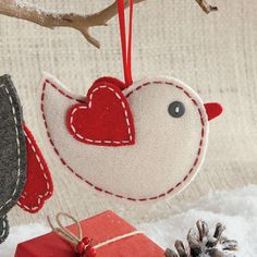 Natural Wool Felt Bird Ornament