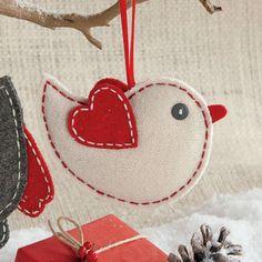 Natural Wool Felt Bird Ornament $7