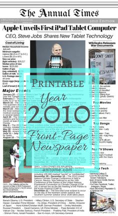 Welcome to the year Below you will find the list I compiled of major events, trends, world leaders, cost of living, and popular culture for the year I hope this helps you with the baby … Newspaper Article, Old Newspaper, New Tablets, Newspaper Archives, Major Events, S Stories, World Leaders, Steve Jobs, Book Journal