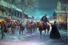 "Un Momento Fugaz"", Stonewall Jackson y Mary Anna, Winchester, Virginia, 1 de febrero de 1862. Artista Mort Kunstler."
