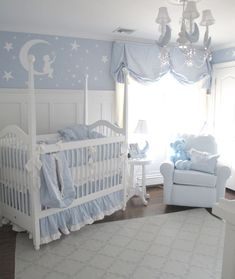 Twinkle twinkle little star moon and stars nursery decor | white and blue moon and stars baby room theme