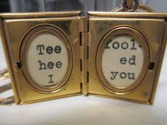 Tee Hee  I Fooled You  Vintage Enamel & Mother Of by nimasonry