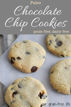 The Perfect Paleo Almond Flour Chocolate Chip Cookies. The Perfect Paleo Almond Flour Chocolate Chip Cookies. Paleo Dessert, Healthy Desserts, Dessert Recipes, Paleo Chocolate Chip Cookies, Paleo Cookies, Chocolate Recipes, Paleo Recipes, Whole Food Recipes, Paleo Food