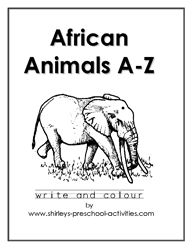 African animals downloadable pdf coloring and handwriting copywork book--free, although they'd like a donation.