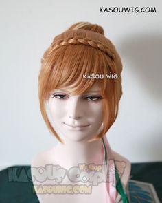 [Kasou Wig] Movie Frozen Queen Anna honey brown with highlighted blonde pre-styled cosplay wig with bun