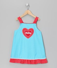 Take a look at this Turquoise 'XOXO' Dress - Toddler & Girls by Candyland on #zulily today!
